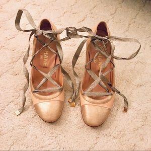 Chanel lace up pumps